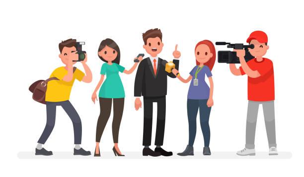 ニュース チャンネルやラジオ局のジャーナリストがインタビューをとる文字のビデオ撮影と写真家 ベクターアートイラスト