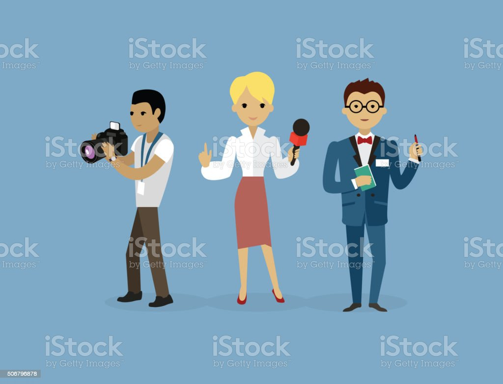 Journalists Team People Group Flat Style vector art illustration