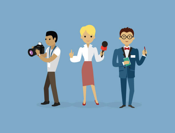 stockillustraties, clipart, cartoons en iconen met journalists team people group flat style - journaal presentator
