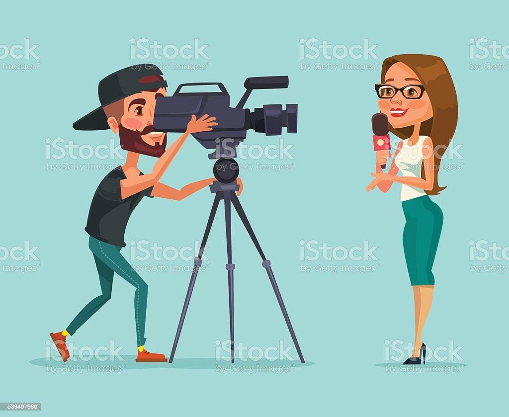 Los periodistas. Mujer informante. Los periodistas hacer informe - ilustración de arte vectorial