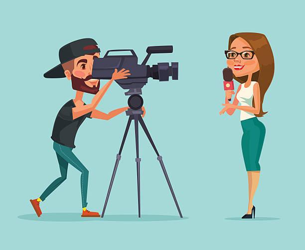 Journalists. Woman reporter. Journalists do report vector art illustration