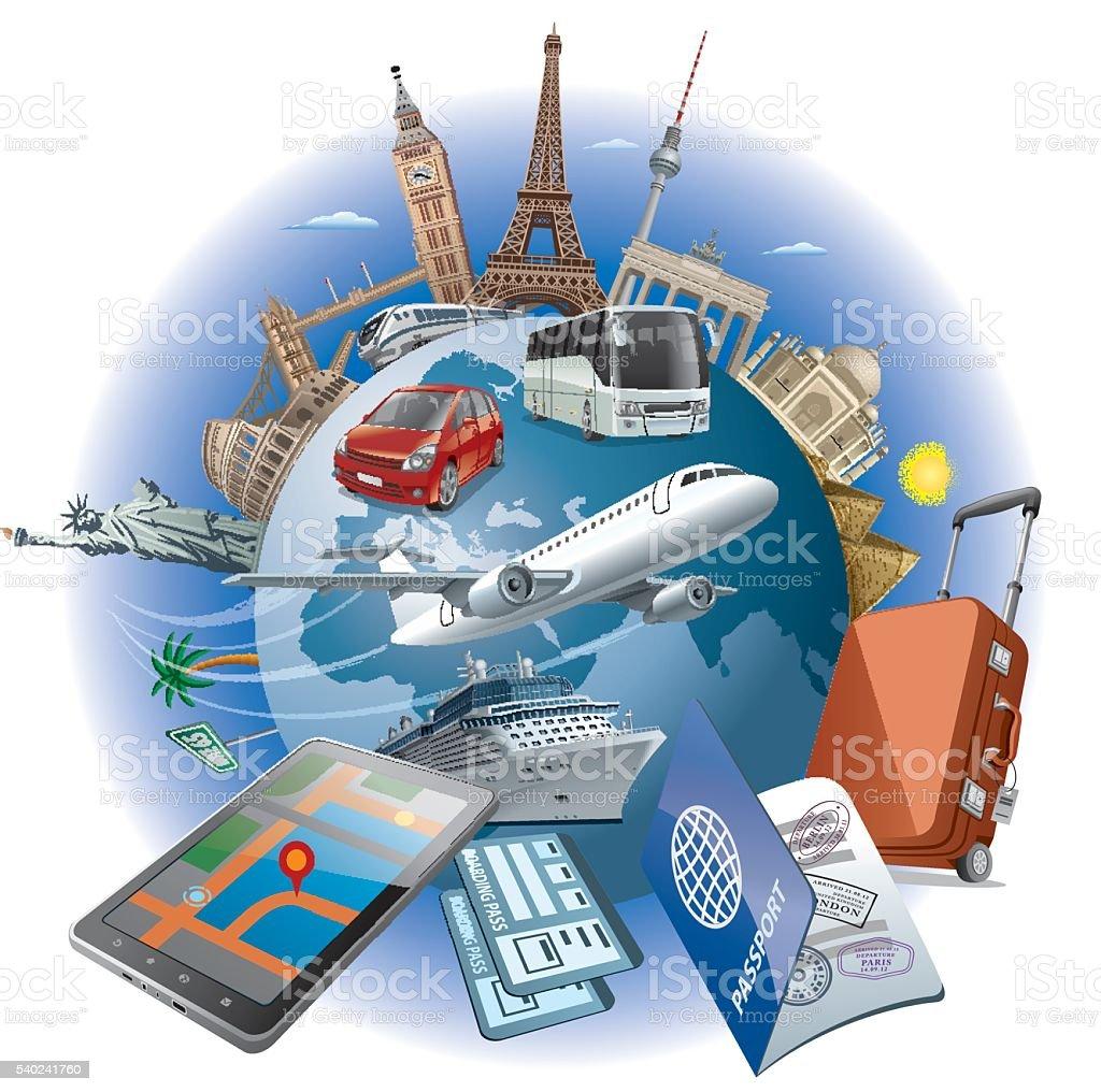 Reise um die Welt der – Vektorgrafik