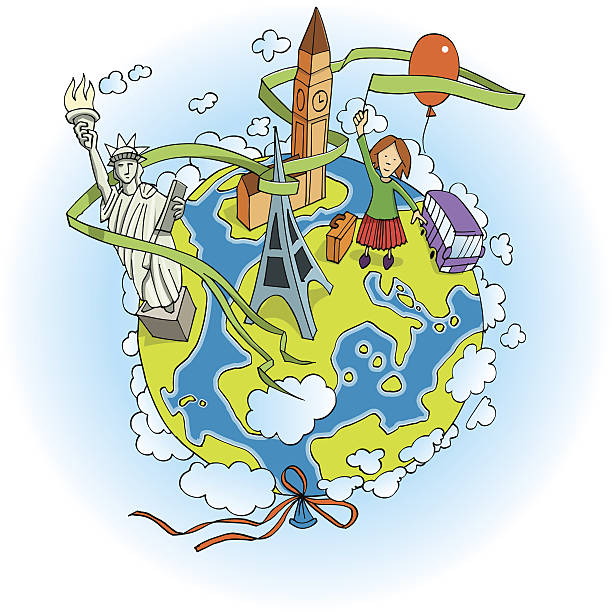 Journey around the world vector art illustration