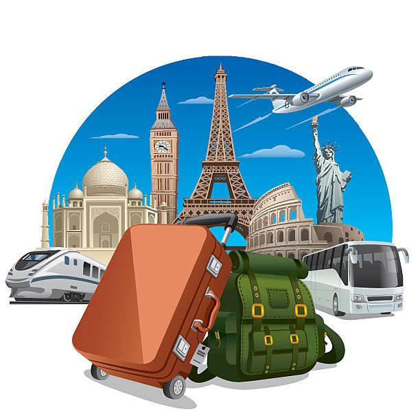 reise-konzept - tour bus stock-grafiken, -clipart, -cartoons und -symbole