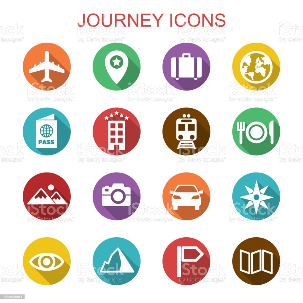 journey long shadow icons vector art illustration