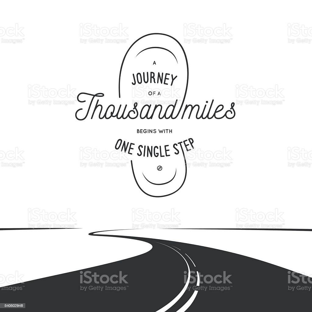 Journey of a thousand miles typographic poster. Vintage vector illustration. vector art illustration