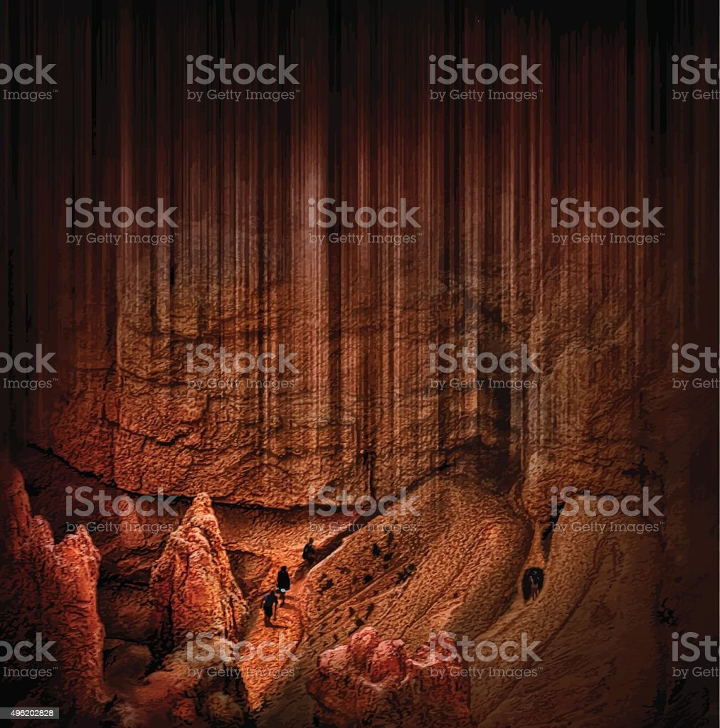 Journey Through a Mysterious Bryce Canyon Trail vector art illustration