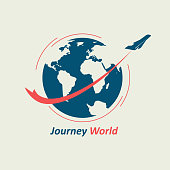 The plane flies around the globe, leaving behind a red line. The symbol symbolizes the travel company.