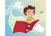 A child is flying on a book.