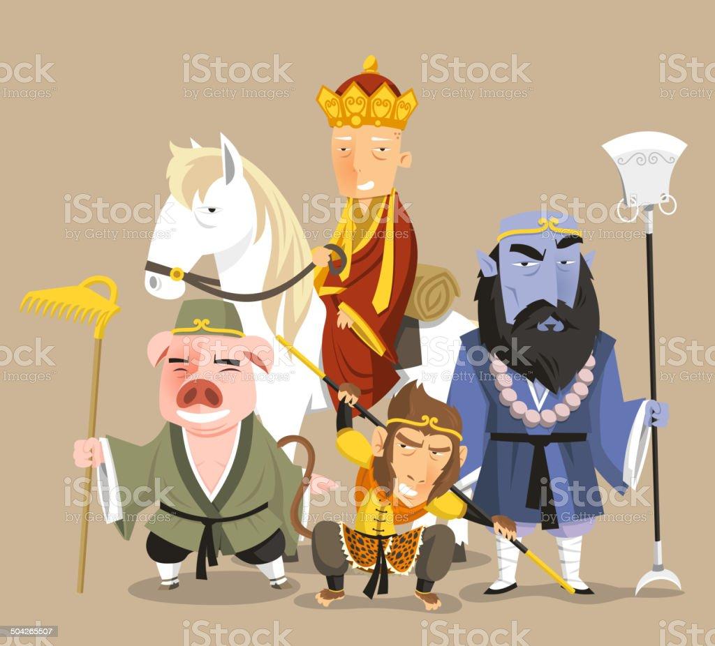 Journey to the West Chinese Mythology Novel Tale vector art illustration