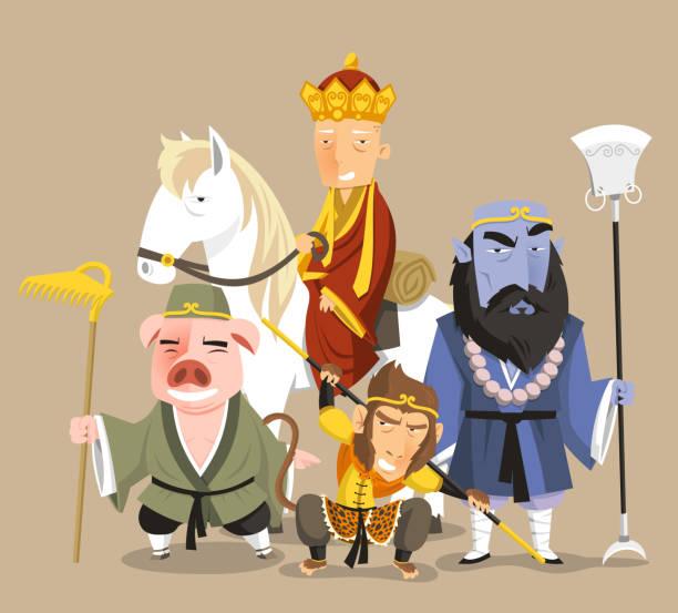 reise in die west chinesischen mythologie neue geschichte - reiseliteratur stock-grafiken, -clipart, -cartoons und -symbole