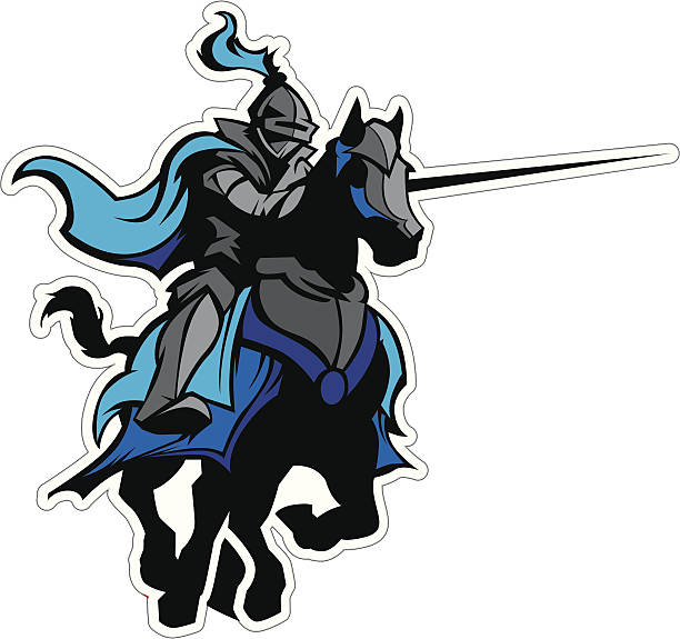 jousting blue knight mascot on horse - knight in shining armor stock illustrations, clip art, cartoons, & icons