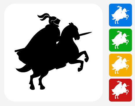 Jousting Knight Icon Flat Graphic Design