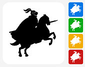Jousting Knight Icon. This 100% royalty free vector illustration features the main icon pictured in black inside a white square. The alternative color options in blue, green, yellow and red are on the right of the icon and are arranged in a vertical column.