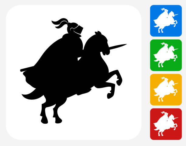 Jousting Knight Icon Flat Graphic Design Jousting Knight Icon. This 100% royalty free vector illustration features the main icon pictured in black inside a white square. The alternative color options in blue, green, yellow and red are on the right of the icon and are arranged in a vertical column. chess knight silhouette stock illustrations