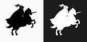 Jousting Knight Icon on Black and White Vector Backgrounds