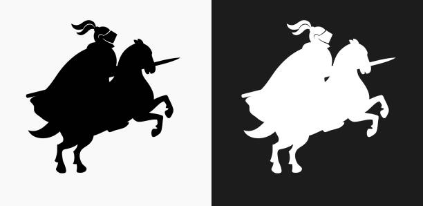 jousting knight icon on black and white vector backgrounds - knight in shining armor stock illustrations, clip art, cartoons, & icons