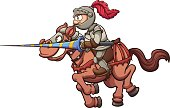 Jousting knight riding a horse. Vector clip art illustration with simple gradients. Horse and knight on separate layers.