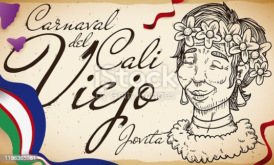 istock Jovita Draw, Cali's Flag and Streamers for Cali Viejo Parade 1196385281