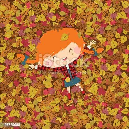 istock Joy autumn. girl fall illustration vector 156779586