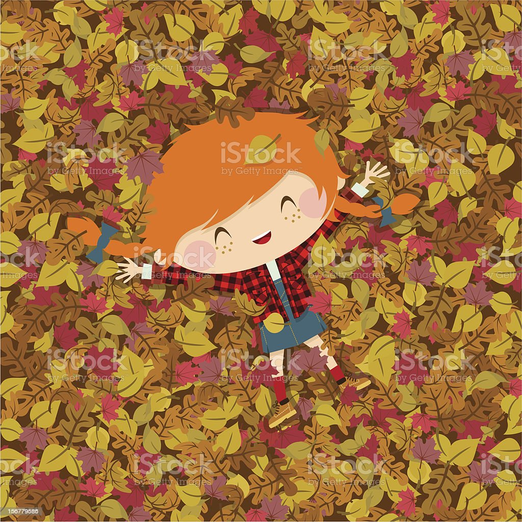 Joy autumn. girl fall illustration vector vector art illustration