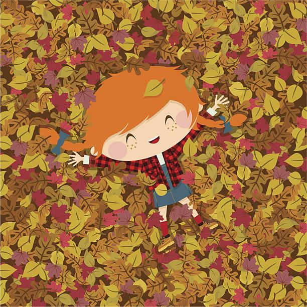 bildbanksillustrationer, clip art samt tecknat material och ikoner med joy autumn. girl fall illustration vector - children autumn