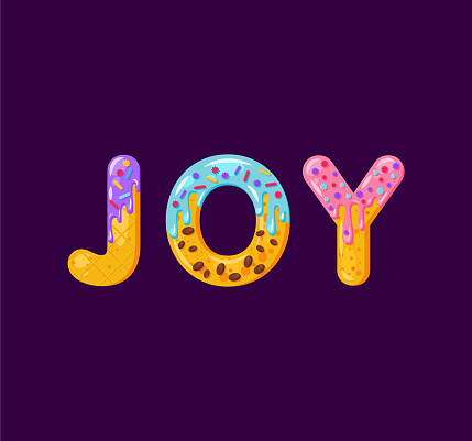 Joy biscuit vector lettering. Glazed gingerbread inscription. Tempting flat design typography. Cookies letters Christmas phrase isolated on dark purple. Biscuit word t shirt print, banner element