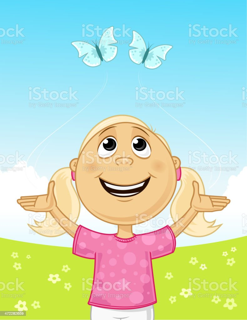 Joy in the field Little girl playing with butterflies in the flower field. Agricultural Field stock vector