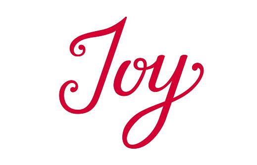 Joy lettering. Christmas joy. Joy phrase isolated