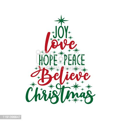 Joy love hope peace believe Christmas - calligraphy text, with stars.. Good for greeting card and  t-shirt print, flyer, poster design, mug.