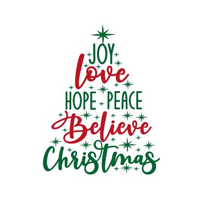 Joy love hope peace believe Christmas - calligraphy text, with stars.