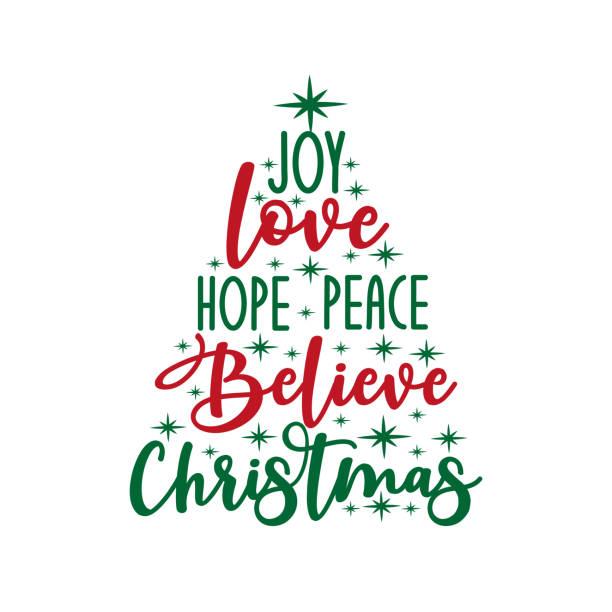 ilustraciones, imágenes clip art, dibujos animados e iconos de stock de alegría amor esperanza paz creer navidad - texto caligrafía, con estrellas. - esperanza