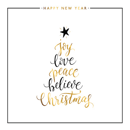 Download Joy Love Peace Believe Christmas Gold Text Isolated Stock ...
