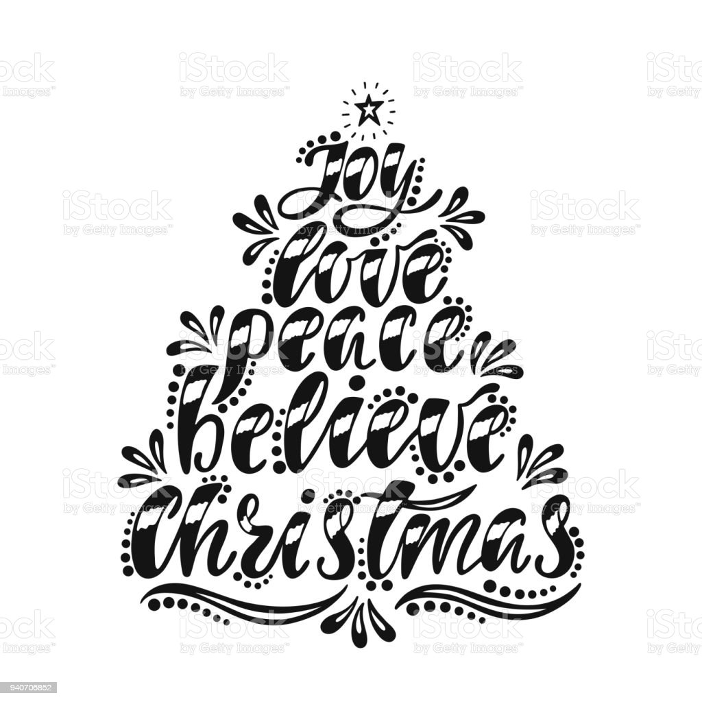 Joy Love Peace Believe Christmas Handwriting Inscription For