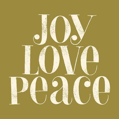 Joy Love Peace hand-drawn lettering quote