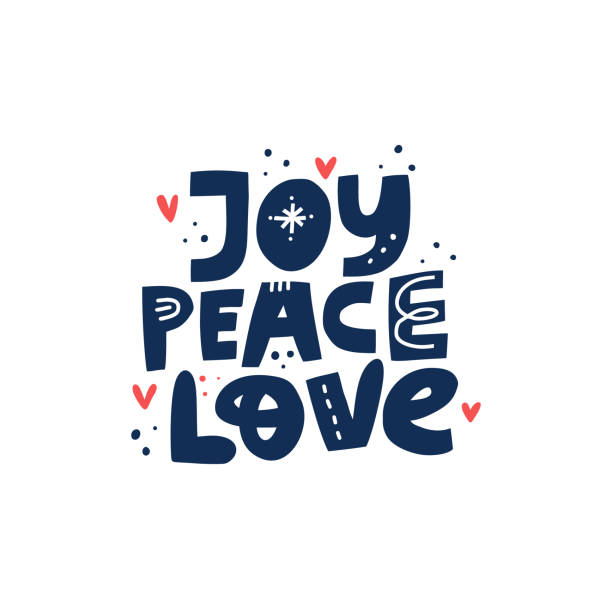 joy peace love hand drawn vector lettering - radość stock illustrations