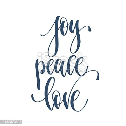 joy peace love - hand lettering inscription text to winter holiday design, celebration and greeting card, calligraphy vector illustration
