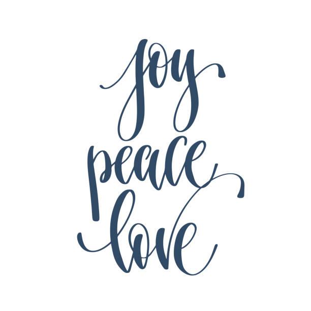 ilustrações de stock, clip art, desenhos animados e ícones de joy peace love - hand lettering inscription text to winter holid - alegria