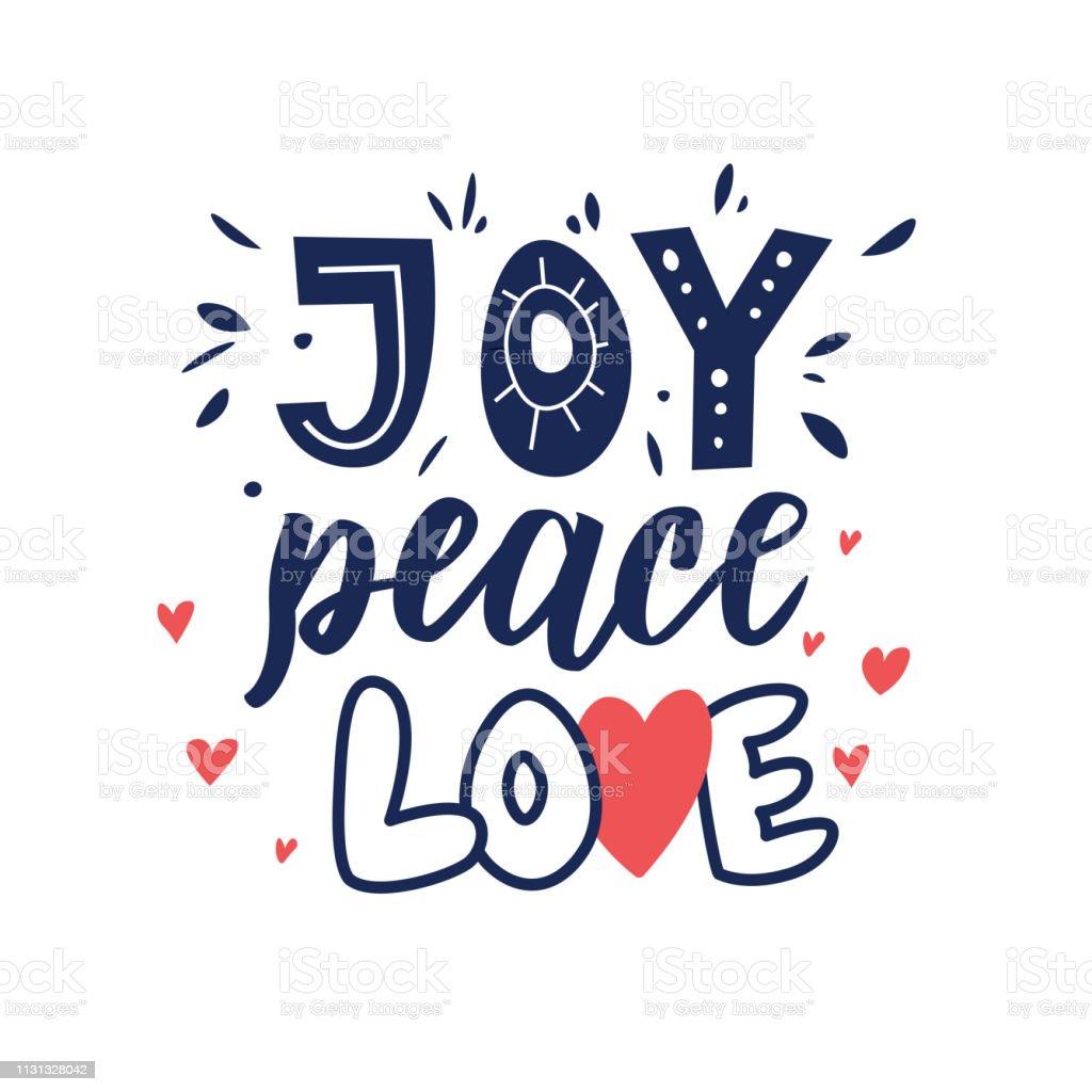 Ilustración De Alegría Paz Amor Mano Cita De Letras Frase