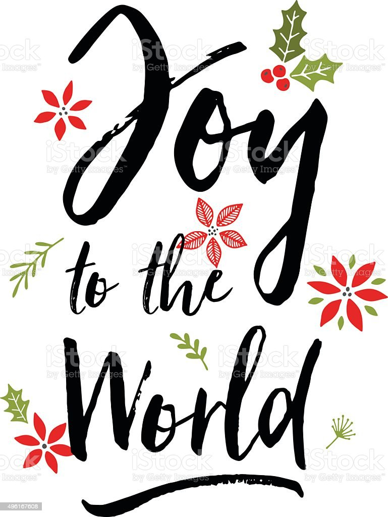 Joy To The World Christmas Greeting In Bold Script Stock Vector Art ...