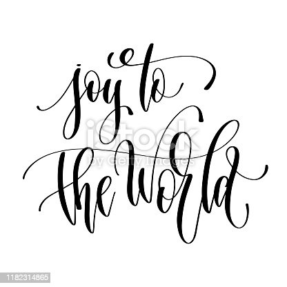 joy to the world - hand lettering inscription text to winter holiday design, calligraphy vector illustration