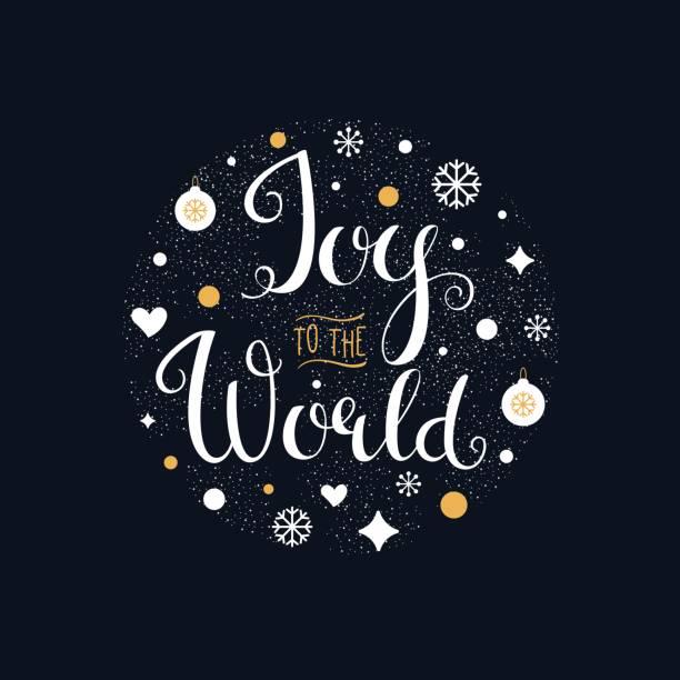 ilustrações de stock, clip art, desenhos animados e ícones de joy to the world. hand lettering sign - alegria
