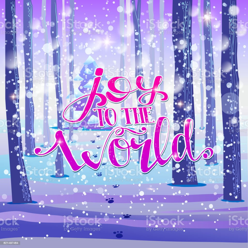 Joy to the world on forest background joy to the world on forest background - immagini vettoriali stock e altre immagini di abete royalty-free