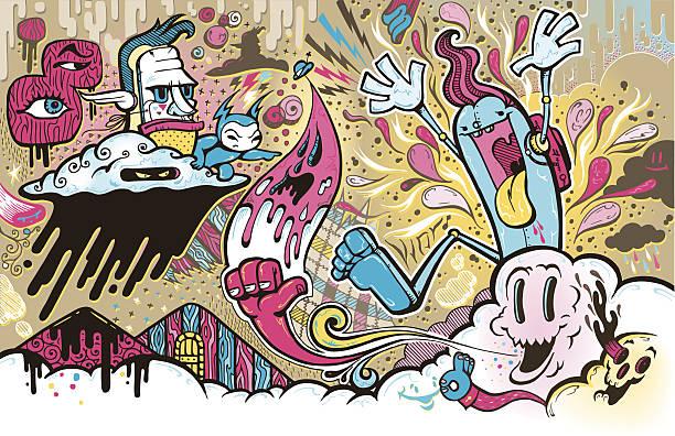 joy unstoppable - duvar yazısı stock illustrations