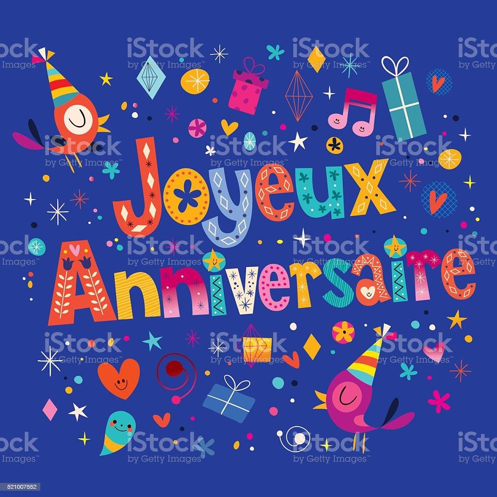 Joyeux Anniversaire Happy Birthday In French Card Stock Vector Art
