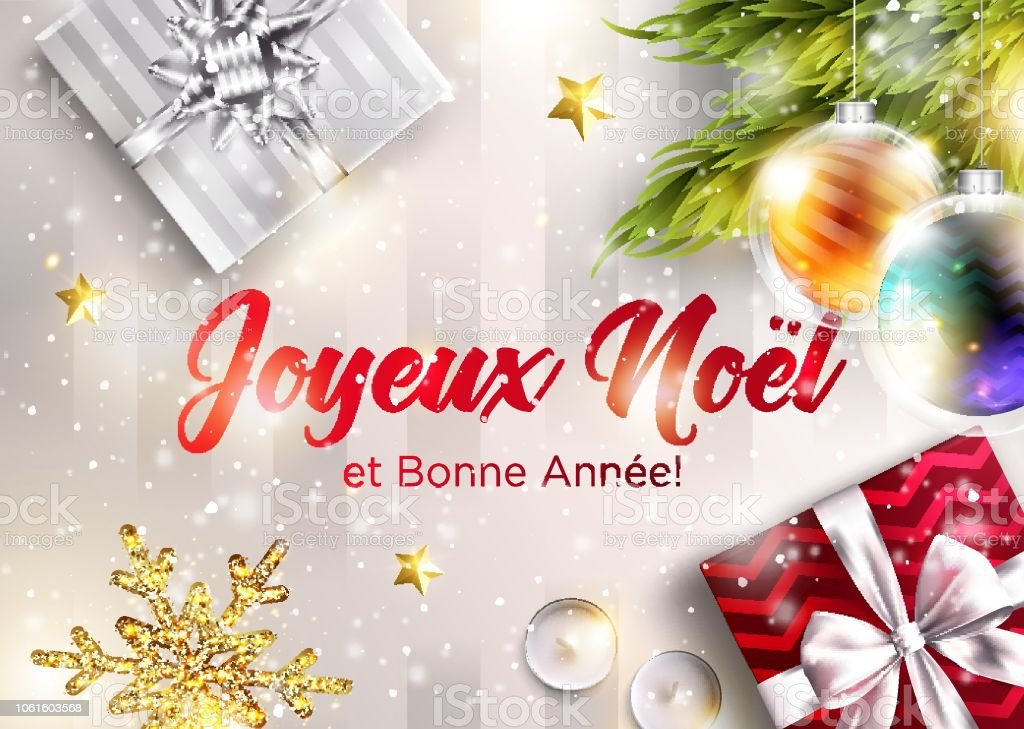merry christmas and happy new year in french vector