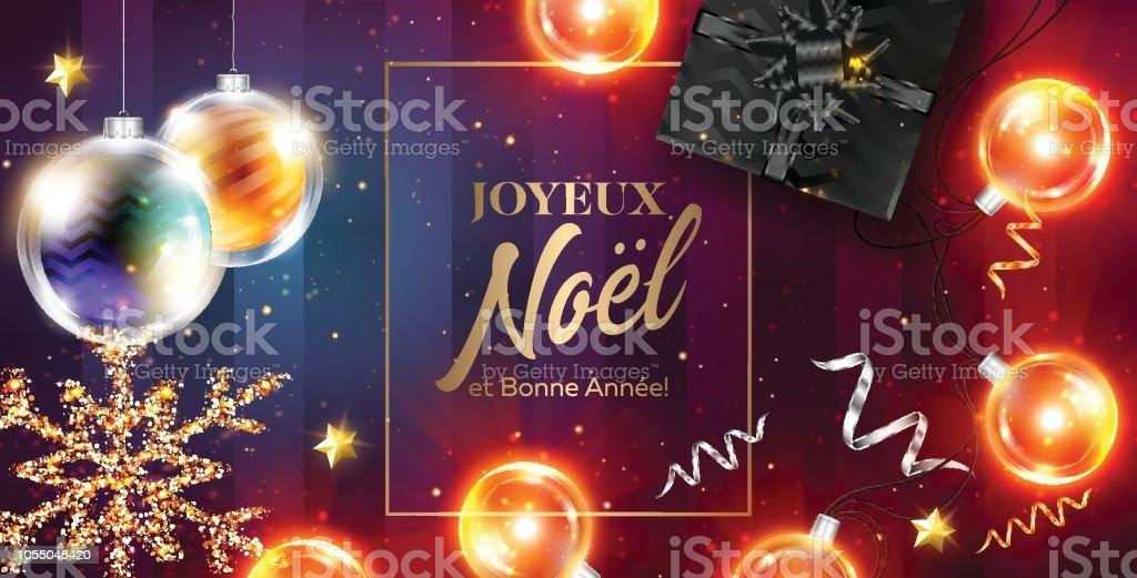 Joyeux Noel Et Bonne Annee Vector Card Prettige Kerstdagen En