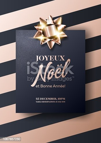 istock Joyeux Noel et Bonne Annee Vector Card. Merry Christmas and Happy New Year in French. Minimalist Xmas 2019 Poster Template in Dark Black and Rose Gold Colors. Strict, Luxury, Chic, Elegant Style. 1067657250