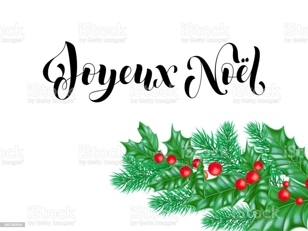 Joyeux Noel Französisch Frohe Weihnachten Kalligraphie Schrift Auf ...