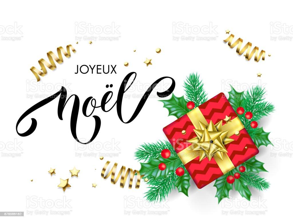 Ilustración De Mano De Caligrafía Joyeux Noel Francés Feliz